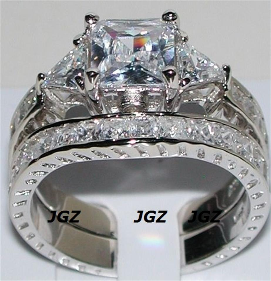 a67a6b38899 925 Sterling Silver 4.5 Ct Princess Cut Antique * 7 * New * Women's Wedding  Band Set 65% off retail