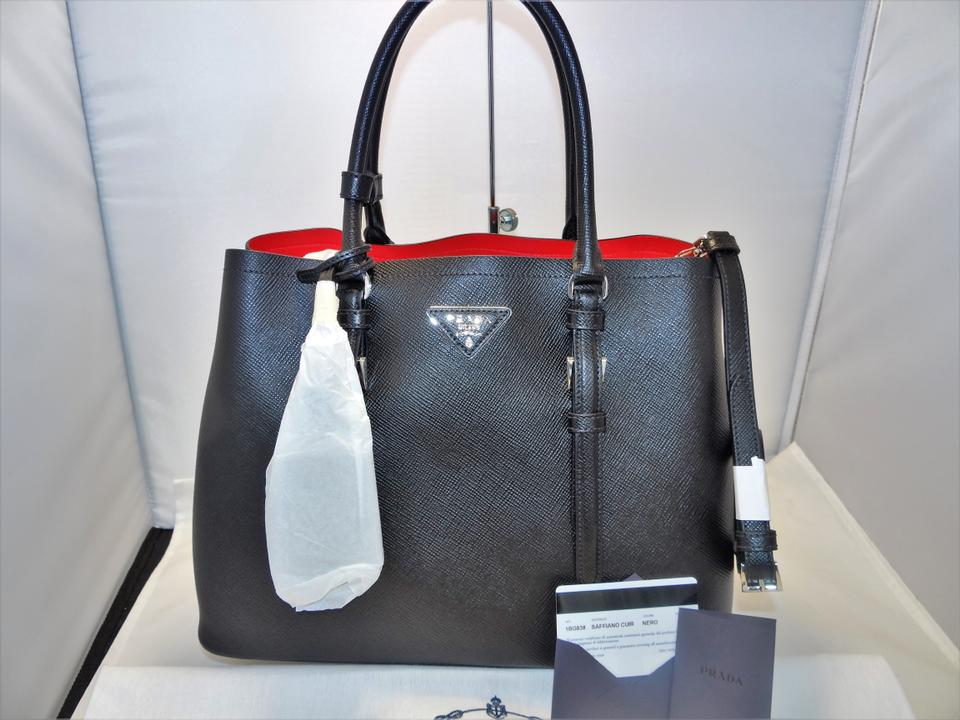 62d57eac711d Prada Double Saffiano Cuir Satchel Tote in BLACK / RED Image 11.  123456789101112