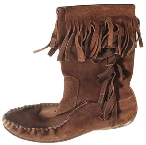 Gucci Suede Fringe Mid-calf Moccasin Brown Boots