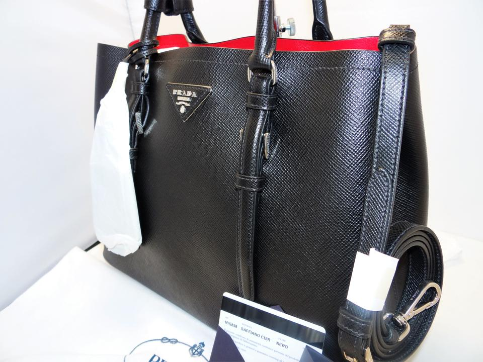 dc95507c1270 Prada Double Saffiano Cuir Satchel Tote in BLACK / RED Image 11.  123456789101112