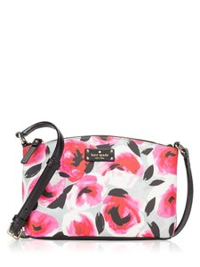Kate Spade Floral Roses Multi-colored Black Leather Adjustable Cross Body Bag