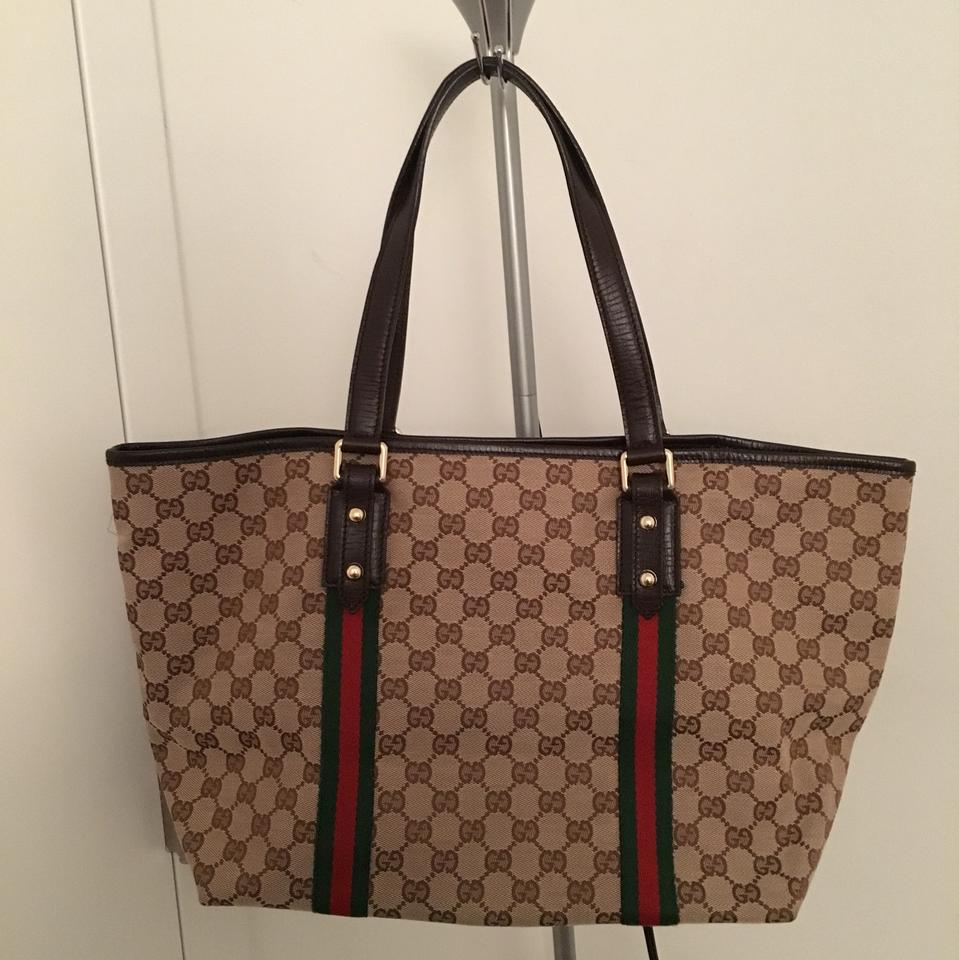 be4894ba409 Gucci Jolicoeur Gg Canvas Large Fabric and Leather Tote - Tradesy