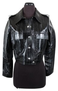 Louis Vuitton Leather Cropped Black Jacket
