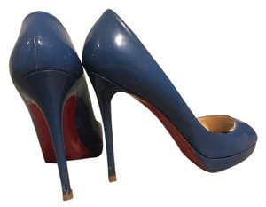 Christian Louboutin Peep Toe Blue Pumps