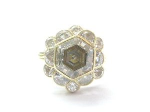 Other 18Kt Fancy Brown Octagon Half Moons & Round Cut Diamond Yellow Gold Ri
