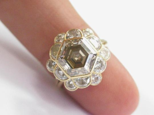 Other 18Kt Fancy Brown Octagon Half Moons & Round Cut Diamond Yellow Gold Ri Image 2