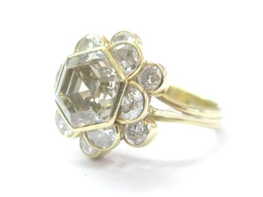 Other 18Kt Fancy Brown Octagon Half Moons & Round Cut Diamond Yellow Gold Ri Image 3