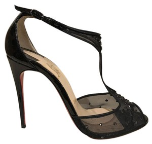 Christian Louboutin Crystal Strass Stiletto Ankle Strap Mesh black Pumps