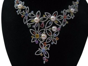 Other 18kt Multi-Gem Diamond Pearl Multi-Color White Gold Necklace 17.25CT