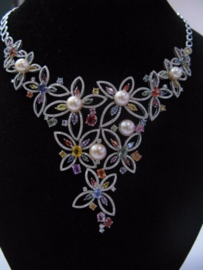 Other 18kt Multi-Gem Diamond Pearl Multi-Color White Gold Necklace 17.25CT Image 2