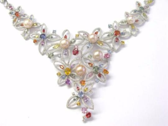 Other 18kt Multi-Gem Diamond Pearl Multi-Color White Gold Necklace 17.25CT Image 4