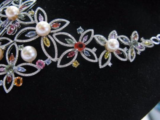 Other 18kt Multi-Gem Diamond Pearl Multi-Color White Gold Necklace 17.25CT Image 6