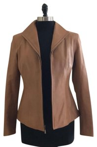 Cole Haan Leather Lambskin Size 6 Tan Leather Jacket
