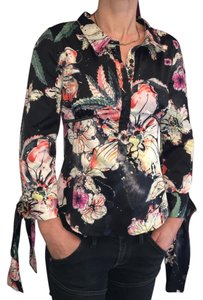 Just Cavalli Button Down Shirt black floral