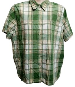 Alfred Dunner Button Down Shirt Green Plaid