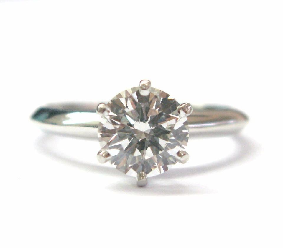 8a3bcd8e6 Tiffany & Co Platinum Round Diamond Solitaire Engagement Ring 1.19CT H.  123456789