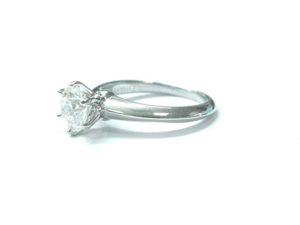 9bd3fb754 Tiffany & Co PLAT Round Diamond Solitaire Engagement Ring 1.05CT H.  123456789