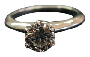 Tiffany & Co. Tiffany & Co PLAT Round Diamond Solitaire Engagement Ring 1.05CT H-VVS