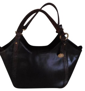 Brahmin Leather Satchel in Black with brown croc style trim