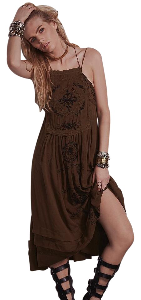 f9e6cfbeb Free People Olive Diamonds In The Sky Long Casual Maxi Dress Size 4 ...