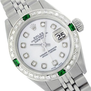 Rolex WOMENS ROLEX DATEJUST 6917 MOTHER OF PEARL DIAMOND & EMERALD WATCH