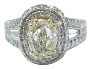 Other 18Kt Oval Fancy Yellow Diamond White Gold Engagement Ring 4.00Ct