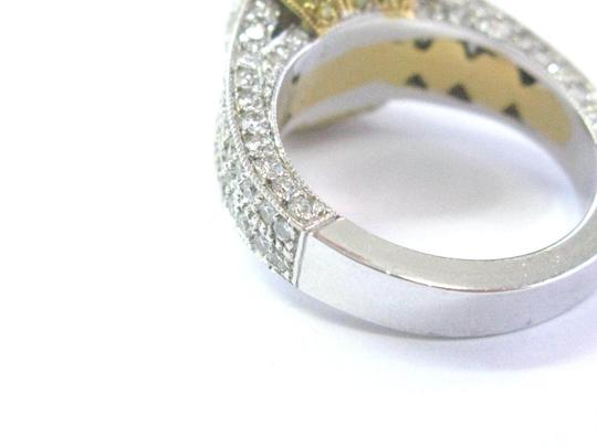 Other 18Kt Oval Fancy Yellow Diamond White Gold Engagement Ring 4.00Ct Image 4
