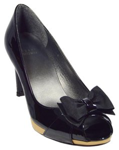 Stuart Weitzman Bow Platform Patent Leather Black Pumps