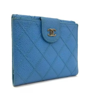 Chanel Quilted Blue Caviar Skin Wallet