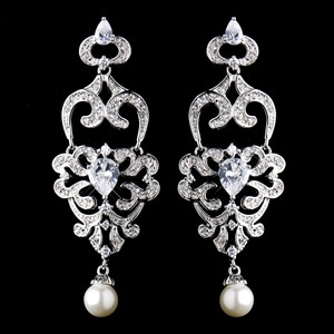 Elegance By Carbonneau Pearl And Cz Wedding Chandelier Earrings