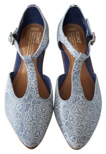 TOMS Jutti Printed Suede Blue Flats