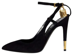Tom Ford Slingback Heels Padlock Key Suede Leather Black Pumps