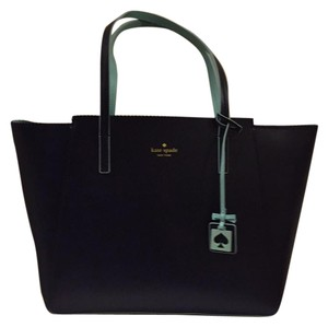 Kate Spade Tote in Navy blue leather with pale blue trim and interior