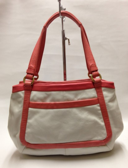 Coach Satchel in White / Coral