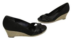 Cole Haan Black ridged leather nappa leather jute rope espadrille open toe NikeAir sole Wedges