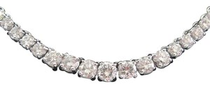 Other 14K 4-Prong Round Cut Diamond Graduated Riviera Necklace Solid White G