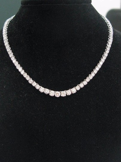 Other 14K 4-Prong Round Cut Diamond Graduated Riviera Necklace Solid White G Image 4