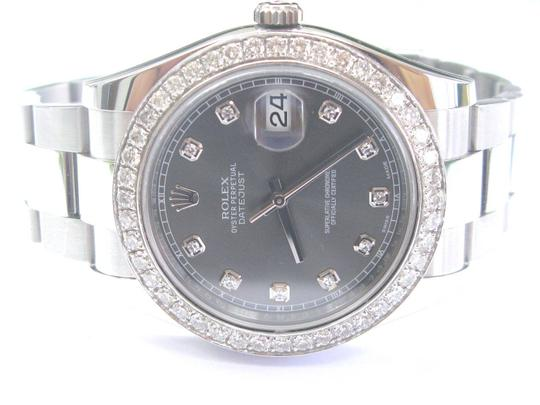 Rolex Rolex Datejust Rhodium Dial SS Oyster Automatic Mens Watch Diamond Dia Image 3