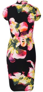 Womens Elegant Floral Print Party Cocktail Evening Formal Prom Fitted Dress TD Dress