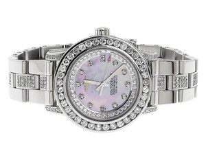 Breitling Custom Ladies Pink MOP Colt Oceane 33 Diamond Watch A77387 10.5 Ct