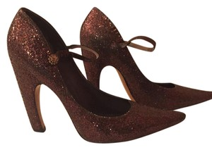 Marc Jacobs Glitter Retro Mary Jane Vintage Textured Brown Pumps