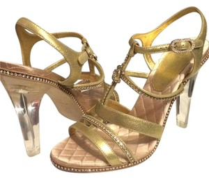 Chanel Pvc Clear Lucite Jewel Gold Sandals