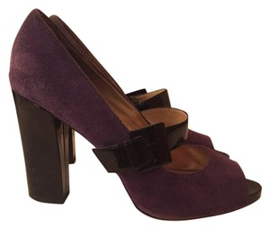MICHAEL Michael Kors Patent Leather Chunky Date Night Peep Toe Purple and Black Pumps