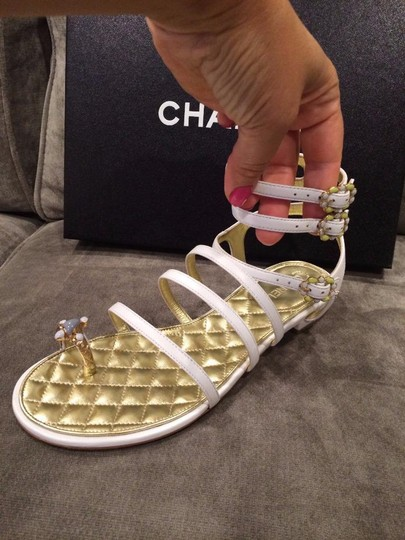 Chanel Jewel Toe Ring Strappy White Sandals Image 1