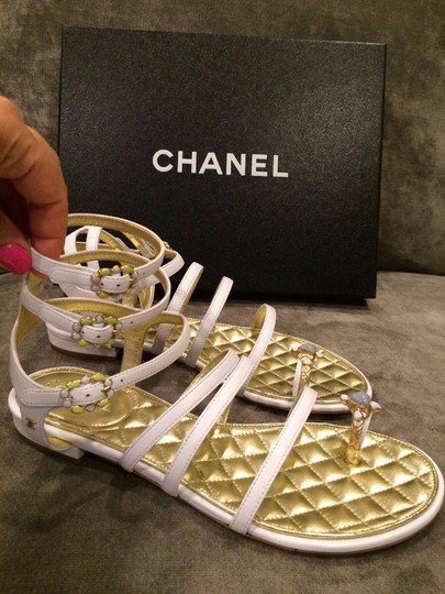 Chanel Jewel Toe Ring Strappy White Sandals Image 2