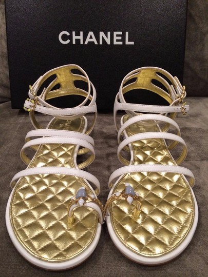 Chanel Jewel Toe Ring Strappy White Sandals Image 3