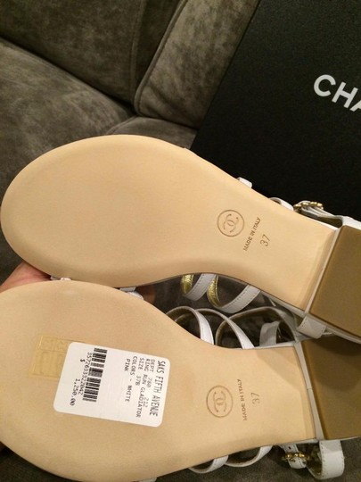 Chanel Jewel Toe Ring Strappy White Sandals Image 4