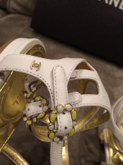 Chanel Jewel Toe Ring Strappy White Sandals Image 5