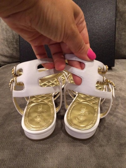 Chanel Jewel Toe Ring Strappy White Sandals Image 6