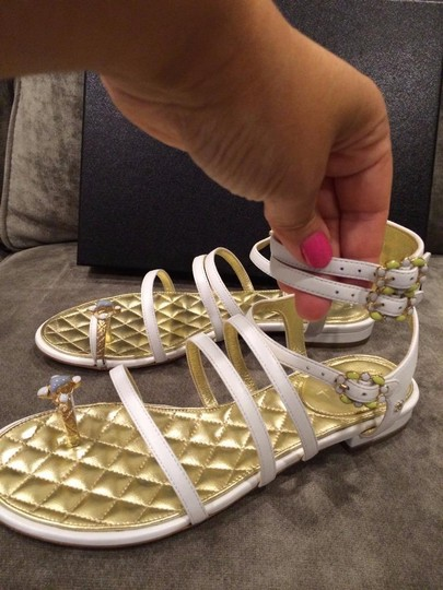 Chanel Jewel Toe Ring Strappy White Sandals Image 7